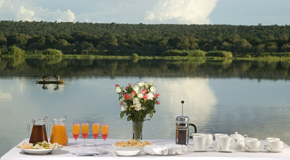 Dining on the banks of the Zambezi